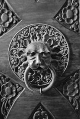 Old knocker on a wooden door in Dubrovnik