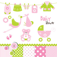 Baby girl design elements for invitations, scrapbook ...