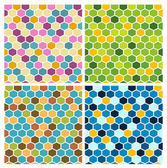 The simple seamless hexagon background set