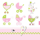 Pink buggy, stroller, Baby girl design elements