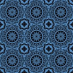 Seamless black pattern on a blue background