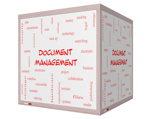 Document Management Word Cloud Concept on a 3D cube Whiteboard