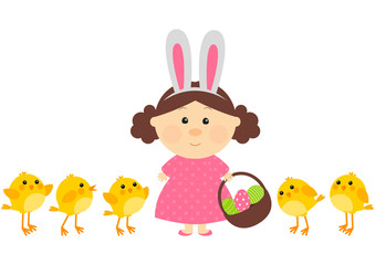 Easter girl with little chickens