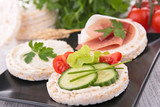 canape with rice cake and cucumber