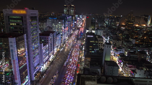 Seoul City Gangnam Traffic and Crowds