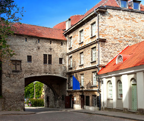 Old city in Tallinn, Estonia. Big Sea gate..