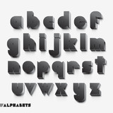 3D alphabet black color. Vector illustration.