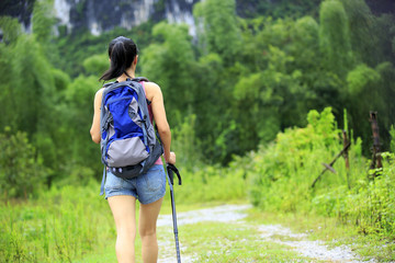 woman hiker at guilin scenery