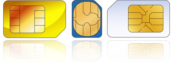 three sim-cards with reflection