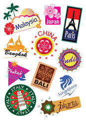 World country travel landmark icon sticker set