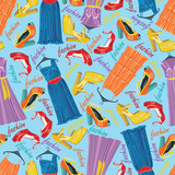 Colored fashionable dresses and open shoes in seamless pattern