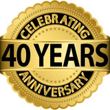 Celebrating 40 years anniversary golden label with ribbon, vecto