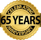 Celebrating 65 years anniversary golden label with ribbon, vecto