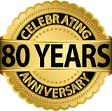 Celebrating 80 years anniversary golden label with ribbon, vecto