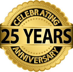 Celebrating 25 years anniversary golden label with ribbon, vecto