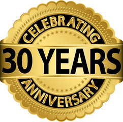 Celebrating 30 years anniversary golden label with ribbon, vecto