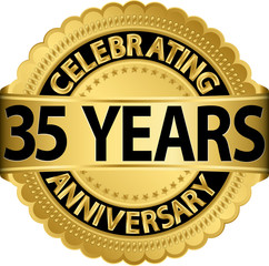 Celebrating 35 years anniversary golden label with ribbon, vecto