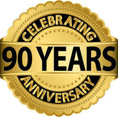 Celebrating 90 years anniversary golden label with ribbon, vecto