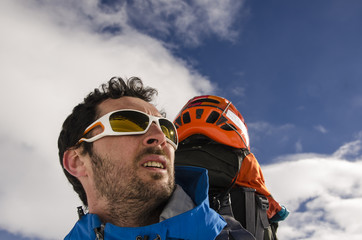 Man portrait in mountains