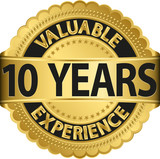 Valuable 10 years of experience golden label with ribbon, vector
