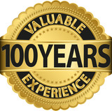 Valuable 100 years of experience golden label with ribbon, vecto