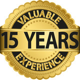 Valuable 15 years of experience golden label with ribbon, vector