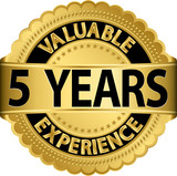 Valuable 5 years of experience golden label with ribbon, vector