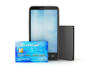 Cell phone, credit card and leather wallet isolated on white