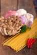 Italian pasta and mushroom sauce ingredients