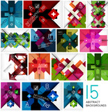 Set of geometrical cross shape backgrounds