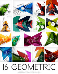 Set of triangle shaped abstract backgrounds