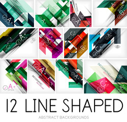 Collection of geometric shaped line backgrounds