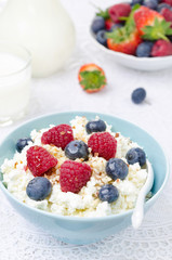 bowl of cottage cheese with berries, honey and nuts, fresh berry