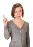 young woman shows sign and symbol on white background