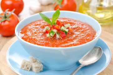 cold tomato soup gazpacho with basil and croutons