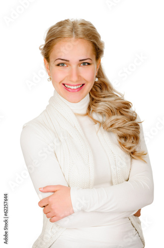 young woman smiling portrait on white background