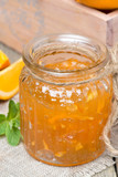 delicious orange marmalade in a glass jar