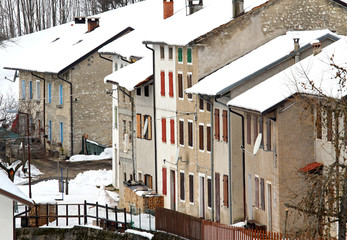 houses in a small village in the mountain during the long cold w