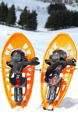 snowshoes for walking on the soft snow on the high mountain