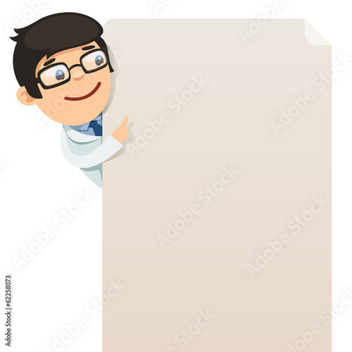 Doctor looking at blank poster