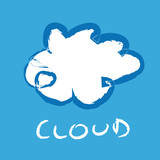 Hand draw cloud on blue background