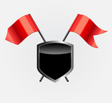 Protective Shield with Red Flags Vector Illustration