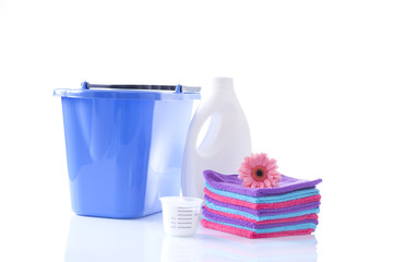 clean cotton towels and washing detergents