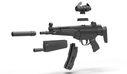 Pistola mitragliatrice con accessori scomposti