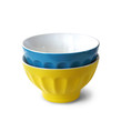 Two colored bowls on white background