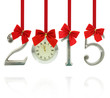 2015 number ornaments with clock hanging on red ribbons