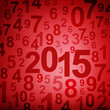 New year 2015 numbers on red grunge background