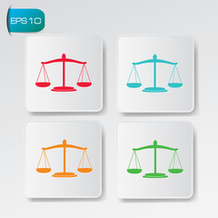 Justice scales buttons,vector