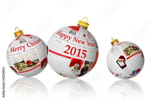 Christmas articles on newspaper balls