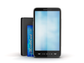 Mobile phone, black wallet and credit card